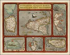 Italy, Greece, Mediterranean, Sardinia and Sicily Map By Abraham Ortelius