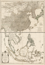 China, Japan, Korea, India, Southeast Asia, Philippines and Other Islands Map By Jean-Baptiste Bourguignon d'Anville