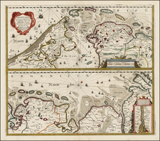 Netherlands and Germany Map By Henricus Hondius