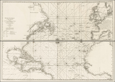 Atlantic Ocean, North America, Canada and Caribbean Map By George Louis Le Rouge