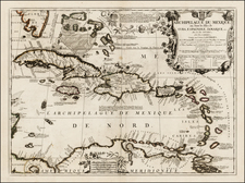 Florida and Caribbean Map By Vincenzo Maria Coronelli - Jean-Baptiste Nolin