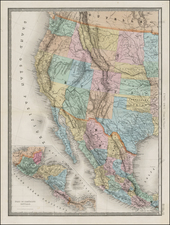 Texas, Plains, Southwest, Rocky Mountains, Baja California and California Map By Eugène Andriveau-Goujon