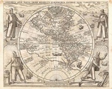 North America, South America, Australia & Oceania, Australia, Oceania and America Map By Theodor De Bry / Girolamo Benzoni