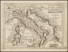 France, Italy and Sardinia Map By Jean Picart