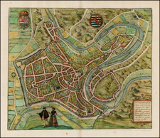 Luxembourg Map By Georg Braun  &  Frans Hogenberg