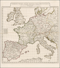 Europe, British Isles, France, Italy and Mediterranean Map By Jean-Baptiste Bourguignon d'Anville