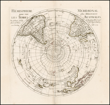 Southern Hemisphere, Polar Maps, Australia and New Zealand Map By Philippe Buache