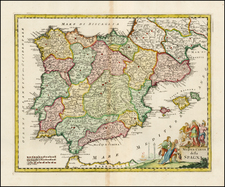 Spain and Portugal Map By Giambattista Albrizzi