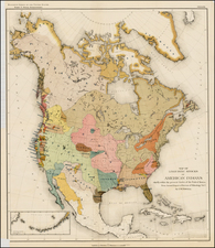 United States and North America Map By J.W. Powell