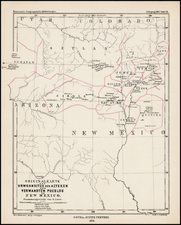 Southwest, Arizona, New Mexico and Rocky Mountains Map By Augustus Herman Petermann