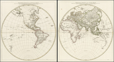 World, World, Eastern Hemisphere and Western Hemisphere Map By Jean-Baptiste Bourguignon d'Anville