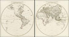 World, World, Eastern Hemisphere and Western Hemisphere Map By Jean-Baptiste Bourguignon d'Anville
