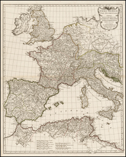 Europe, France, Italy, Spain and Mediterranean Map By Jean-Baptiste Bourguignon d'Anville