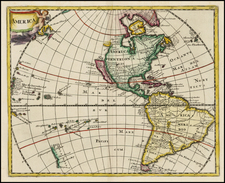 Western Hemisphere, South America, Pacific, New Zealand and America Map By Philipp Clüver