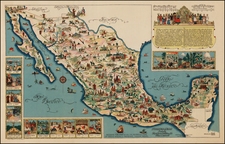 Mexico and Pictorial Maps Map By Fischgrund Publishing Company