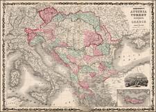 Hungary, Balkans, Greece and Turkey Map By Benjamin P Ward  &  Alvin Jewett Johnson