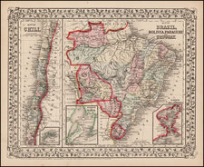South America and Brazil Map By Samuel Augustus Mitchell Jr.