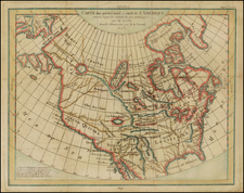Alaska and North America Map By Denis Diderot / Didier Robert de Vaugondy