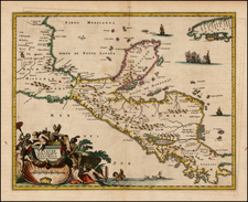 Mexico and Central America Map By John Ogilby