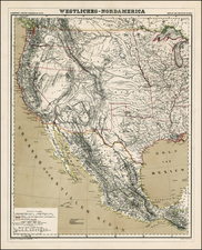 Texas, Plains, Southwest, Rocky Mountains and California Map By Dietrich Reimer  &  Heinrich Kiepert