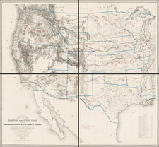United States, Texas, Plains, Southwest, Rocky Mountains and California Map By G.K. Warren / Edward Freyhold