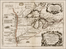 United States, Midwest, Plains, Rocky Mountains and Canada Map By Vincenzo Maria Coronelli / Jean-Baptiste Nolin