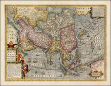 Asia and Asia Map By Jodocus Hondius