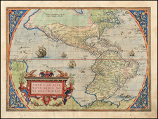 Western Hemisphere, South America and America Map By Abraham Ortelius