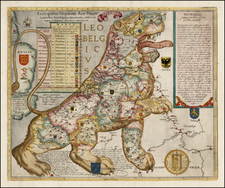 Netherlands, Curiosities and Comic & Anthropomorphic Map By Michael Aitzinger