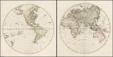 World, Eastern Hemisphere and Western Hemisphere Map By Anonymous