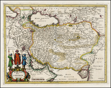 Central Asia & Caucasus and Middle East Map By Matthaus Merian