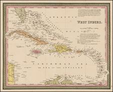 Caribbean Map By Samuel Augustus Mitchell