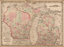Midwest Map By Alvin Jewett Johnson  &  Browning