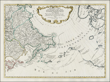 Polar Maps, Alaska, Canada, Pacific and Russia in Asia Map By Gerhard Friedrich Muller
