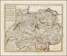 Switzerland Map By Giambattista Albrizzi