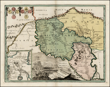 Central Asia & Caucasus and Middle East Map By Johann Christoph Weigel