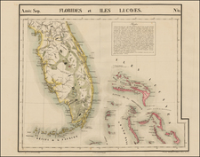 Florida and Caribbean Map By Philippe Marie Vandermaelen