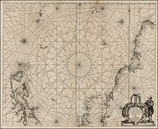 Atlantic Ocean, New England, Mid-Atlantic, Caribbean, South America and Brazil Map By Anthonie (Theunis)   Jacobsz