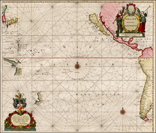 Mexico, Central America, South America, Japan, Korea, Other Islands, Australia & Oceania, Pacific, Australia, Oceania, New Zealand, Other Pacific Islands and California Map By Hendrick Doncker / Arnold Colom