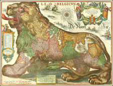 Netherlands, Comic & Anthropomorphic and Curiosities Map By Cornelis II Danckerts