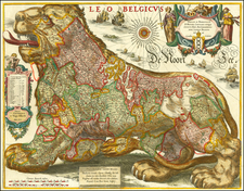 Netherlands, Curiosities and Comic & Anthropomorphic Map By Hugo Allard