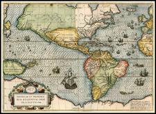 South America and America Map By Frans Hogenberg