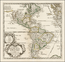 South America and America Map By Pierre Du Val