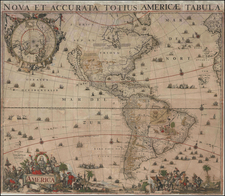 Western Hemisphere, North America, South America and America Map By Gerard Valk