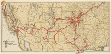 United States, Texas, Plains, Southwest, Rocky Mountains and California Map By American Bank Note Company
