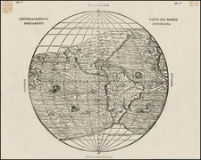 World, Western Hemisphere, Polar Maps, South America and America Map By Giovanni Battista Ramusio