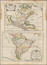 Texas, Midwest, Plains, Southwest, North America, South America and California Map By Pierre Moullart Sanson