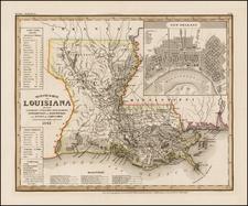South and Louisiana Map By Joseph Meyer  &  Carl Radefeld