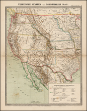 Southwest, Rocky Mountains and California Map By Traugott Bromme