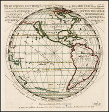 Western Hemisphere and Pacific Map By Pierre Moullart Sanson